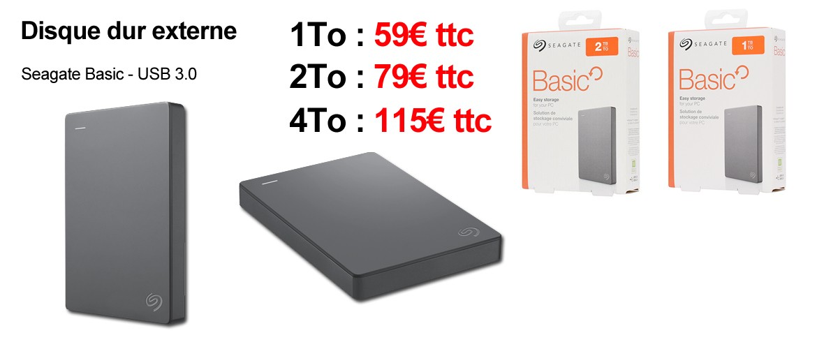Disque dur externe 1To, 2To et 4To